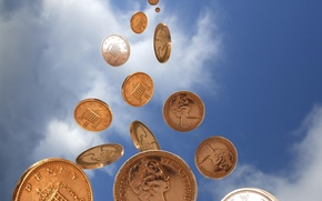 Wallpaper the sky, coins, money
