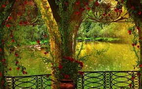 Picture trees, flowers, pond, Park, arch, gazebo