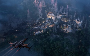 Wallpaper concept, Star Wars, rock, Disney, art, California, mountains, citadel, ship, Disneyland, Han Solo, Millennium Falcon, ...
