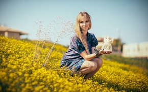 Picture summer, girl, smile, dress, the flowers are yellow
