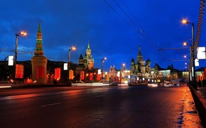 Picture road, night, bridge, the city, lights, the evening, Moscow, The Kremlin, St. Basil's Cathedral, Russia, …