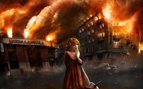 Wallpaper girl, figure, fire, chocolate, canister, fire