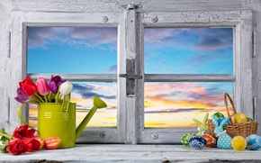 Picture flowers, eggs, spring, window, Easter, tulips, flowers, tulips, spring, Easter, eggs, decoration, Happy