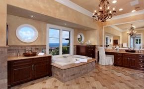 Picture Villa, interior, mirror, chandelier, bath, wardrobe, the room