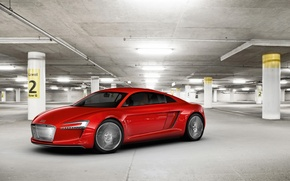 Wallpaper red, the concept car, garage, Audi, Е-tron