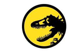 Picture danger, black, dinosaur, yellow, logo