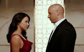Picture cinema, girl, ff7, dress, woman, man, movie, Vin Diesel, brunette, captain, hero, Michelle Rodriguez, oppai, …