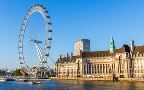 Picture the sky, river, England, London, home, wheel