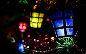 Picture light, decoration, lights, darkness, holiday, new year, Christmas, tree, lanterns, bokeh