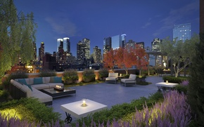 Picture penthouse, terrace, luxurious, city view, outdoor living spaces