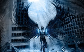 Picture light, the city, figure, wings, Angel