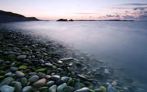 Picture sea, water, clouds, stones, morning, Ireland