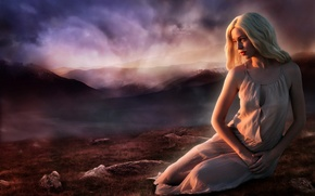 Picture girl, mountains, fog, rendering, hair, dress, art, blonde, Wallpaper from lolita777