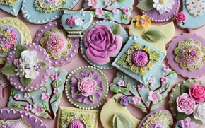 Picture flowers, colored, spring, cookies, form, sweet, glaze