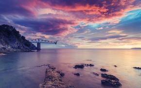 Picture colorful, rock, sky, ocean, nature, water, beautiful, clouds, dreams