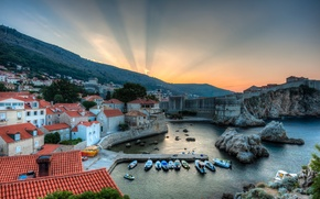 Picture landscape, sunrise, Bay, panorama, boats, Croatia, Croatia, Dubrovnik, Dubrovnik