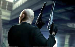 Picture weapons, guns, barcode, bald, gloves, jacket, Agent 47, Silver baller, Hitman: Absolution, mufflers, forty-seventh, assassin, …