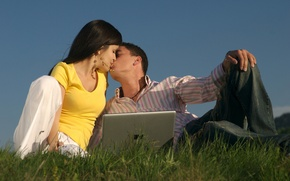 Picture grass, girl, love, people, girls, mood, people, kiss, friendship, guy, guys, relationship, kisses