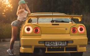 Wallpaper girl, yellow, cap, Nissan, skyline, nike, r34, Evgeniy Savin