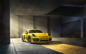 Picture Porsche, Cayman, Front, Yellow, Parking, Supercar, GT4, 2015