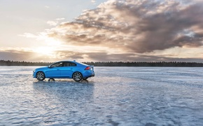 Picture the sky, clouds, trees, sunset, blue, ice, sedan, s60, volvo, Volvo, polestar, C60