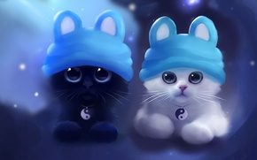 Wallpaper cap, art, kitty, apofiss, kittens, pussies, beautiful, funny, cute