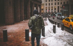 Picture winter, snow, back, New York, the hood, the camera, lens, taxi, male, Manhattan, cars, Canon, ...