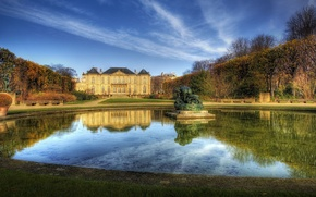 Wallpaper trees, mansion, fountain, clouds