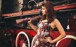 Picture look, girl, style, retro, weapons, background, the engine, modern, goal, girl, beautiful, pin-up, military, style, ...