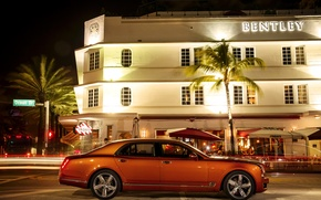 Picture orange, photo, Bentley, car, side, metallic, luxury, 2015, Mulsanne Speed