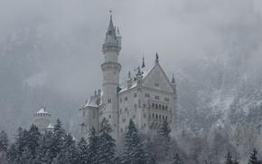 Picture winter, snow, mountains, castle