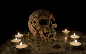 Picture cartridges, candles, skull