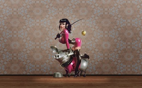 Wallpaper bowl, pig, headphones, Wallpaper, pink, latex, player, Apple, rod, girl, bust, collar