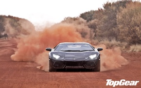 Picture road, trees, black, dust, Lamborghini, supercar, top gear, the front, LP700-4, Aventador, Lamborghini, top gear, …