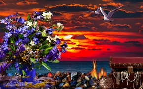 Picture flowers, Sea, the evening, dawn