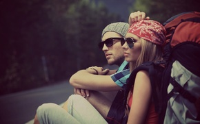 Picture road, girl, trees, nature, background, Wallpaper, mood, woman, hat, blur, glasses, male, guy, bandana, hike, …