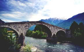 Wallpaper bridge, mountains, the sky, trees, river, clouds