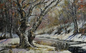 Picture winter, forest, river, overcast, picture, painting, snowfall, winter landscape, late autumn, Khodukov, spatula