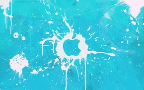 Wallpaper squirt, white, blue, blot, apple, Apple