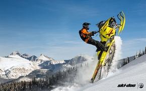 Picture Mountain, Yellow, Summit, Snowmobile, Snowmobile, Buck, Ski Doo