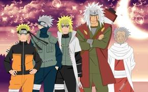 Wallpaper anime, naruto, naruto, the fourth Hokage, Minato, namikaze, kakashi, jiraiya, yondaime hokage, sandaime hokage