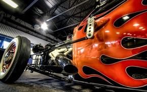 Picture car, machine, engine, fire, flame, turbine, Hot, classic, rat, Rod