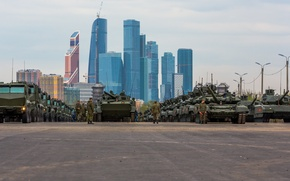 Wallpaper Moscow, Skyscraper, Tank, T-90, Parade, May 9, Armata, Rehearsal