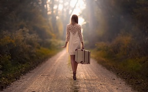 Wallpaper road, girl, the way, suitcase