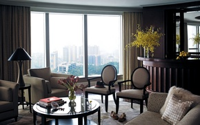 Picture flowers, design, room, books, chairs, interior, window, vases