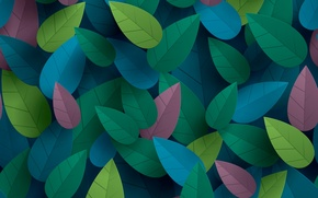Picture leaves, the volume, colorful