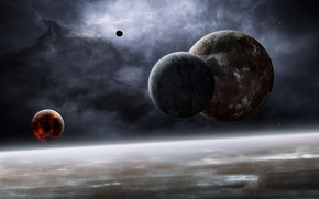 Picture space, stars, planet, the atmosphere