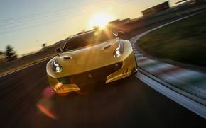 Picture Sunset, Ferrari, Background, Ferrari, Yellow, The front, FAS, F12TDF
