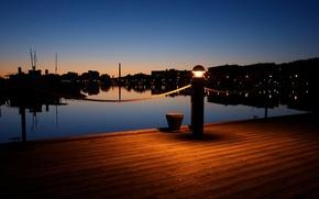 Wallpaper lights, the evening, pier, Lantern