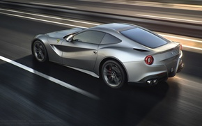 Picture Silver, Berlinetta, F12, Road, Rear, Speed, Ferrari